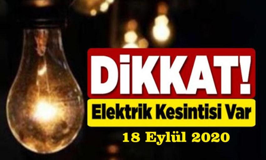 18 Eylül elektrik kesintileri