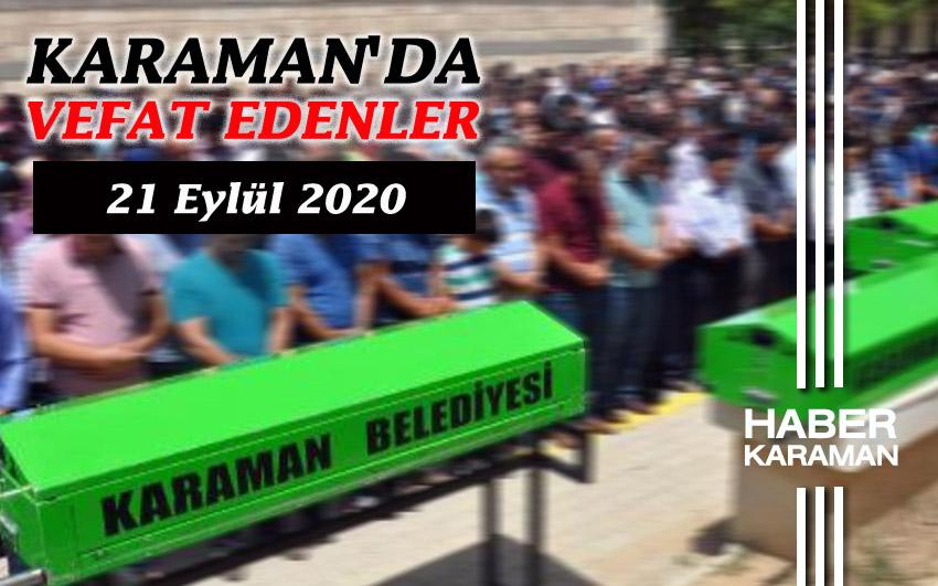 Karaman'da vefat edenler - 21 Eylül