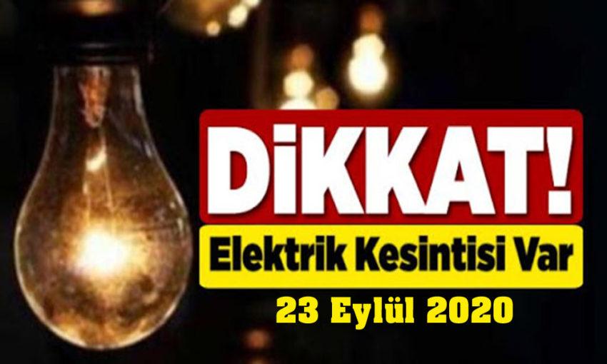 23 Eylül elektrik kesintileri