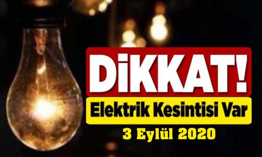 3 Eylül elektrik kesintileri