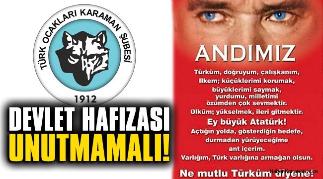 """Türk Ocakları'ndan """"And"""" açıklaması"""